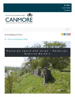 Digital copy of Archaeology InSites feature regarding Roxburgh castle and burgh – Roxburgh, Scottish Borders