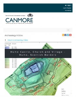 Digital copy of Archaeology InSites feature regarding Hume Castle, Church and Village - Hume, Scottish Borders
