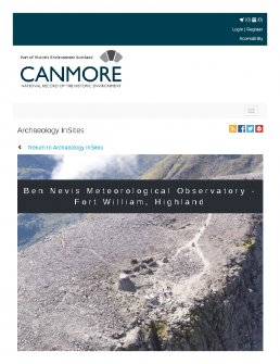 Digital copy of Archaeology InSites feature regarding Ben Nevis Meteorological Observatory - Fort William, Highland