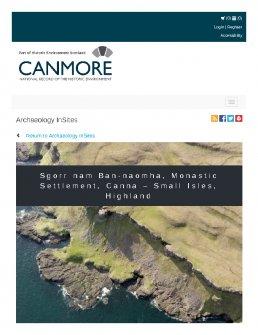 Digital copy of Archaeology InSites feature regarding Sgorr nam Ban-naomha, Monastic Settlement, Canna – Small Isles, Highland