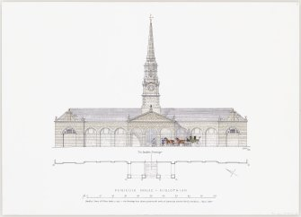 Digital copy of ink drawing of front elevation of stables at Penicuik House, Midlothian. The drawing shows the elevation prior to its conversion into housing.