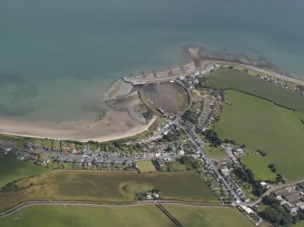 Oblique aerial view of Drummore village, looking ENE.