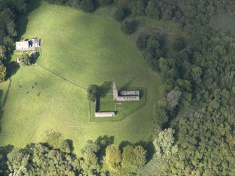 Oblique aerial view of Restenneth Priory, taken from the S.