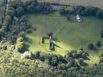 Oblique aerial view of Restenneth Priory, taken from the ENE.