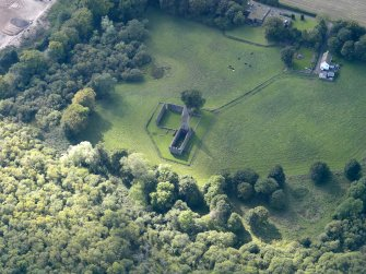 Oblique aerial view of Restenneth Priory, taken from the NE.
