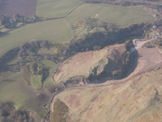 Oblique aerial view of Castle Craig and Kay Craig, looking NNW.