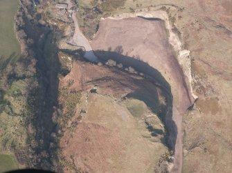 Oblique aerial view of Castle Craig, looking NE.