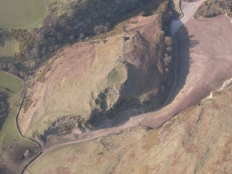 Oblique aerial view of Castle Craig, looking NNW.