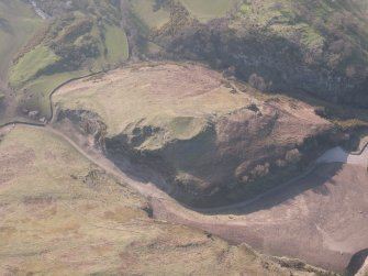 Oblique aerial view of Castle Craig, looking WNW.