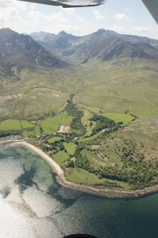 General oblique aerial view of Goatfell, Arran with Corrie Golf Course in the foreground, looking to the WSW.