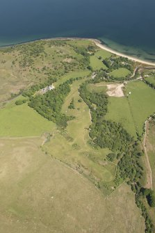 Oblique aerial view of Corrie Golf Course, looking to the ENE.