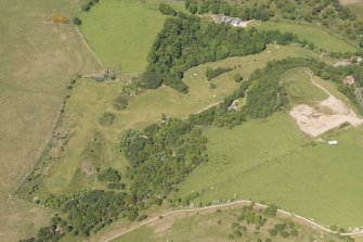 Oblique aerial view of Corrie Golf Course, looking to the N.
