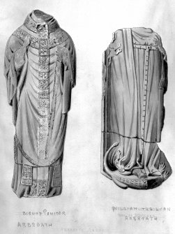 Drawing showing effigies of Bishop Paniter and William the Lion, Arbroath Abbey. SC848136 Copyright RCAHMS