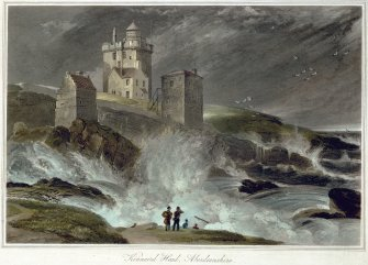 Aquatint view of the castle in a storm.