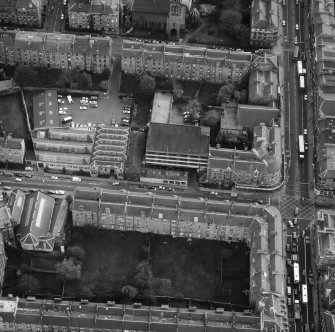 Oblique aerial view of the C&J Brown's warehouse, Edinburgh prior to renovation to house RCAHMS seen from the North North West.
