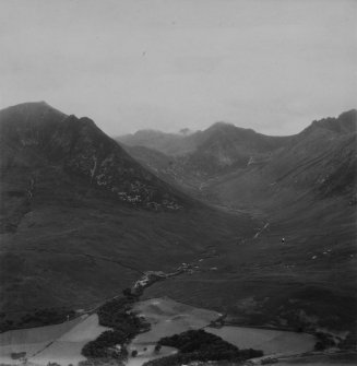 Glen Sannox, Isle of Arran.  Oblique aerial photograph taken facing south-west.  This image has been produced from a print.