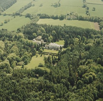 Aerial view of Lanfine country house, garden and farmsteading, taken from the NW.