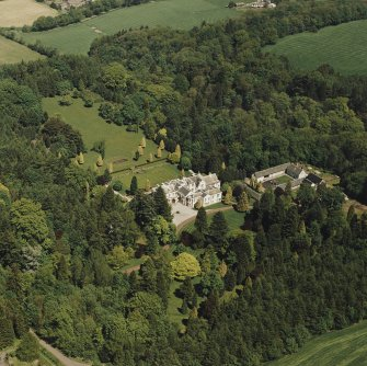 Aerial view of Lanfine country house, garden and farmsteading, taken from the SW.