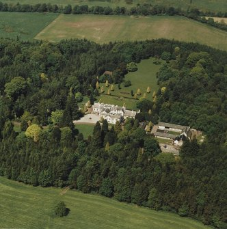 Aerial view of Lanfine country house, garden and farmsteading, taken from the SSE.