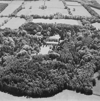 Aerial view of Lanfine country house, garden and farmsteading, taken from the N.