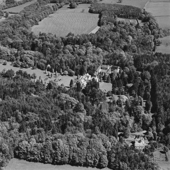 Aerial view of Lanfine country house, garden, farmsteading and walled garden, taken from the W.