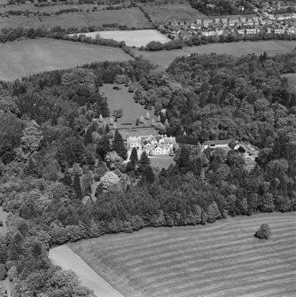 Aerial view of Lanfine country house, garden and farmsteading, taken from the SSW.