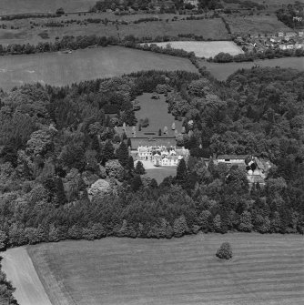 Aerial view of Lanfine country house, garden and farmsteading, taken from the S.