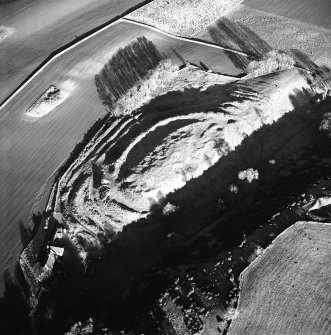 Oblique aerial view centred on the remains of the fort with farmsteading adjacent, taken from the SSW.