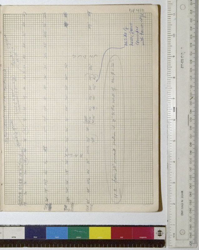 MS 2281/1.Site Notebook entitled 'Farthing Down '48/'49'. Measurements for section through Grinsell's Barrow 10 (B1), N-S section. Continued from DP4110.