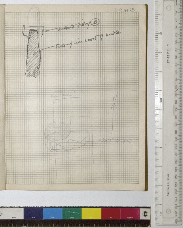 MS 2281/1.Site Notebook entitled 'Farthing Down '48/'49'. Sketches of an iron sword and single burial.