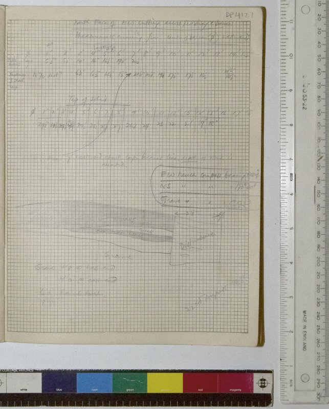 MS 2281/1.Site Notebook entitled 'Farthing Down '48/'49'.Section drawing entitled 'North face of EW Cutting across Fieldway and barrow'