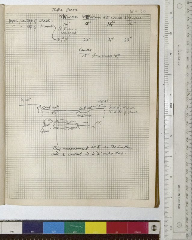 MS 2281/1.Site Notebook entitled 'Farthing Down '48/'49'. Sketch and measurements showing depth of triple grave from the top of the chalk level.