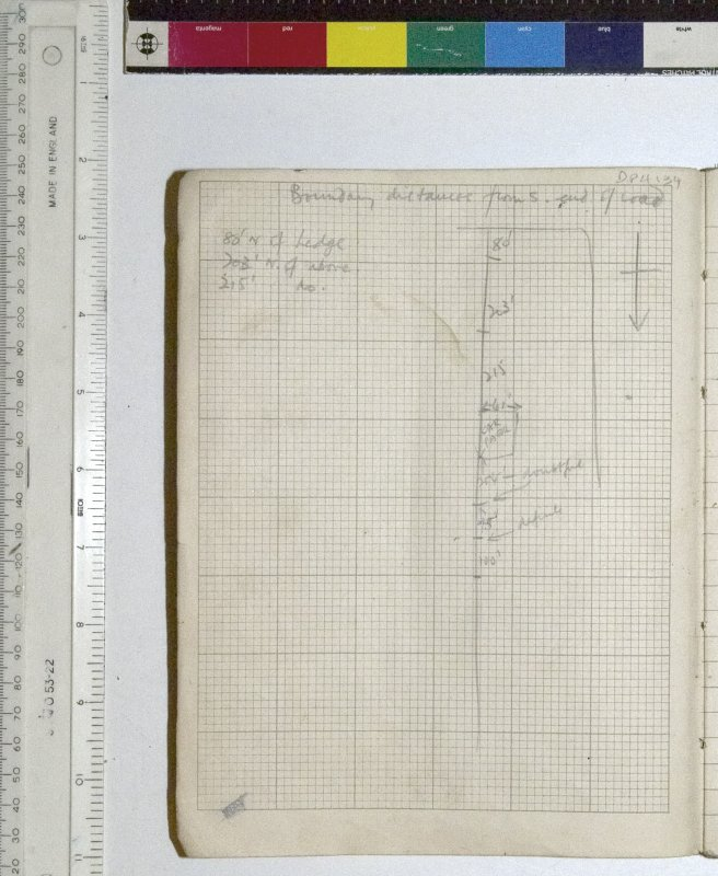 MS2281/02. Untitled site notebook. Sketch showing 'Boundary distances from S. end of road.'