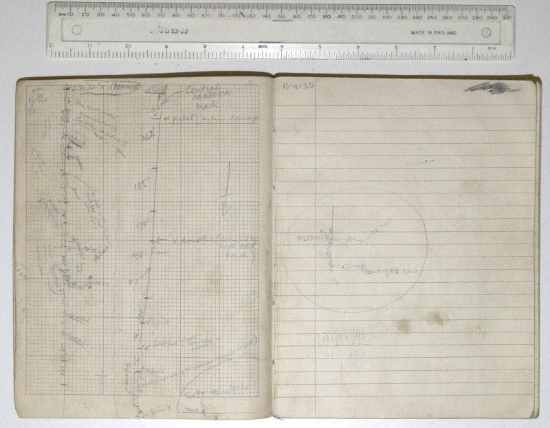 MS2281/02. Untitled site notebook. Sketch showing field boundaries.