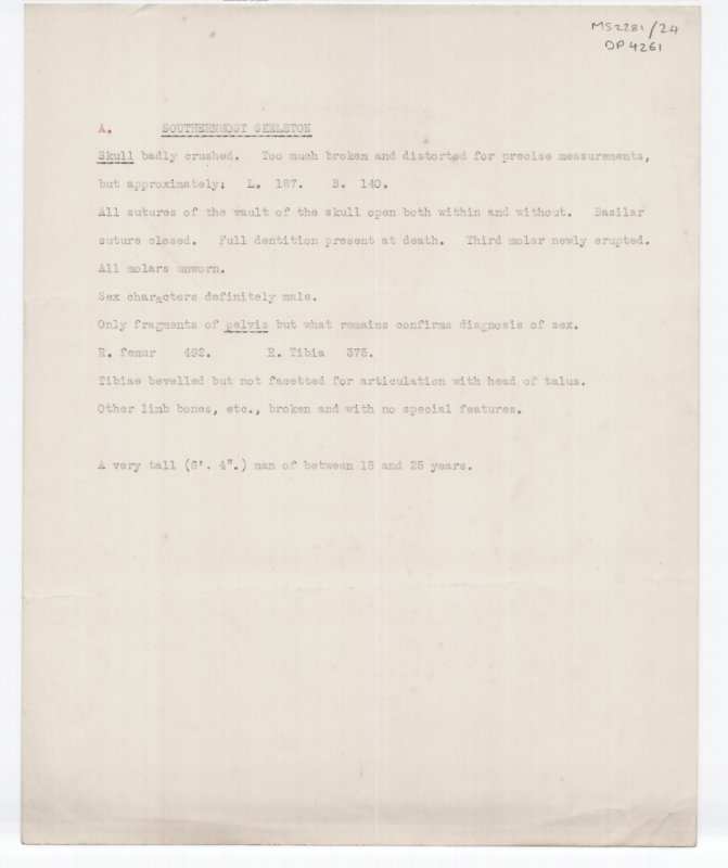 S2281/24. Untitled typed manuscript  describing human remains by grave. 5 of 9 sides.