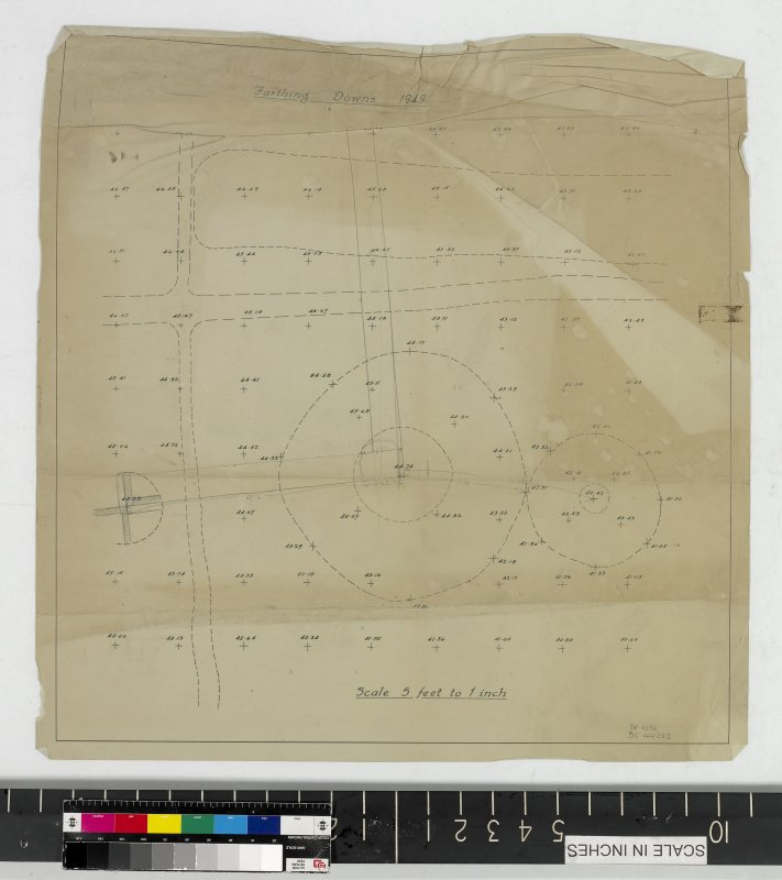 DC 44203. Mechanical copy showing survey grid marked with the location of three barrows and pencil annotations.