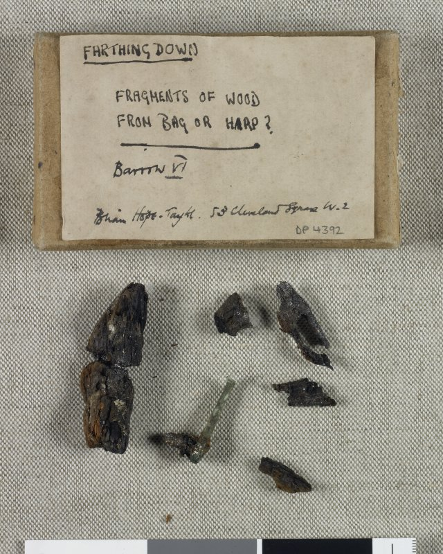 Digital copy of artefact photograph: Fragments of wood from bag or harp from Barrow VI.