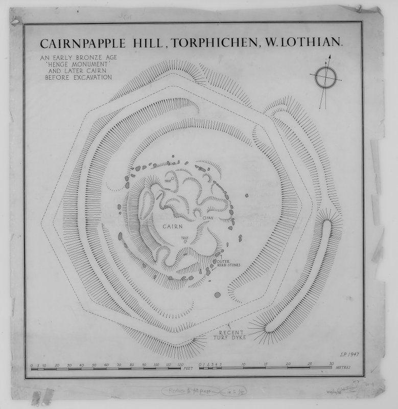 Plan of Cairnpapple Hill before excavation.