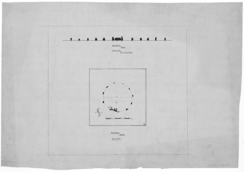 Digital image of drawing showing plan and section. EASTER AQUHORTHIES (RECUMBENT STONE CIRCLE)