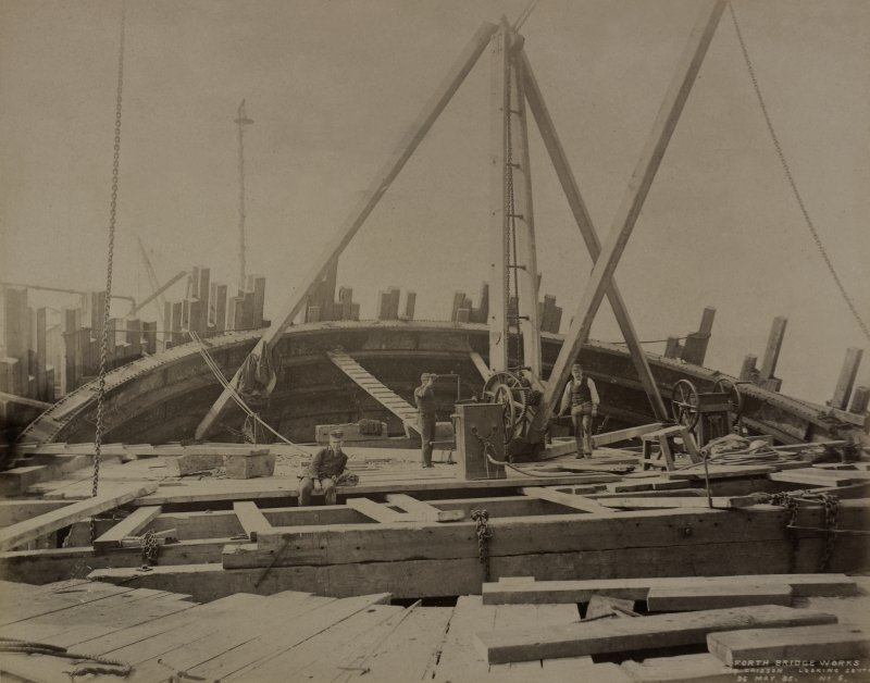 View of No 24 caisson looking south, No.6 during Forth Bridge construction.