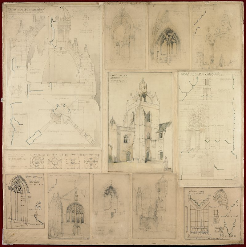 Student material. Various buildings. Study perspectives, plans, sections, elevations and details made during Basil Spence's Pugin Studentship.