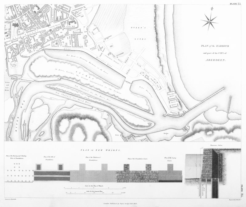 Engraving of elevation and plan inscr: ''Plan of the harbour and part of the City of Aberdeen. Includes plan of new wharfs.''
