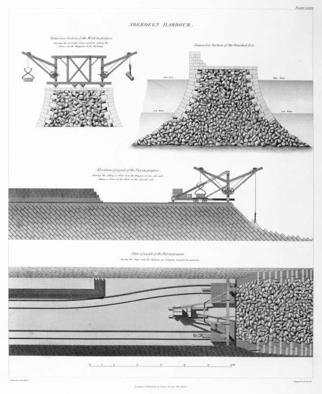 Engraving of elevation and plan inscr: ''Aberdeen Harbour. Plans, Transverse Section and Elevations during construction.''