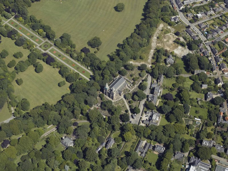 Oblique aerial view centred on the cathedral, burial ground and park, taken from the WSW.