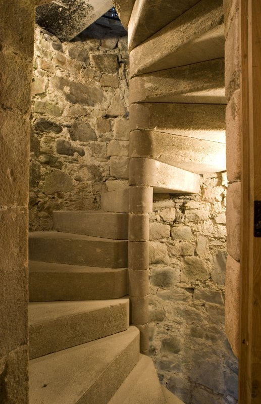 Interior view of stone staircase, Castle Stalker, Argyll.