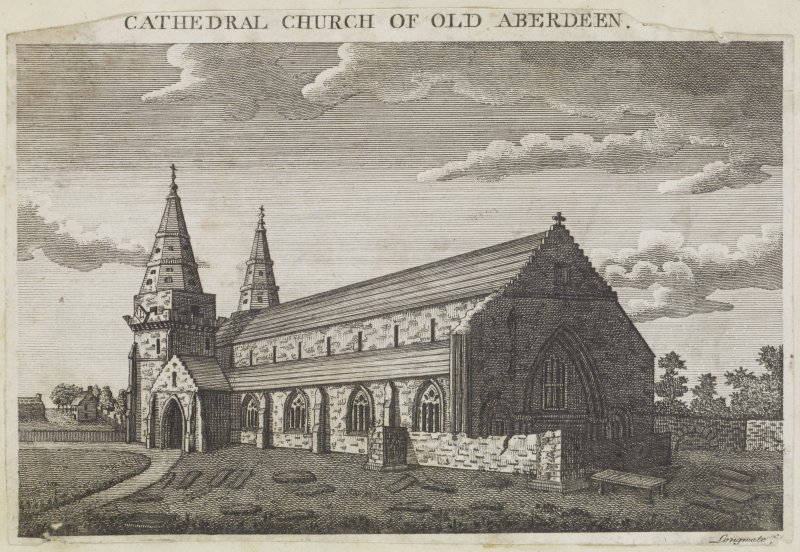 Digital copy of page 86: Engraving showing general view of Old Aberdeen Cathedral. Insc. 'Cathedral Church of Old Aberdeen. Longmate'. 'MEMORABILIA, JOn. SIME  EDINr.  1840'.