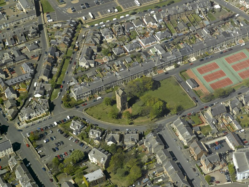 Oblique aerial view centred on St John's Tower, taken from the SE.
