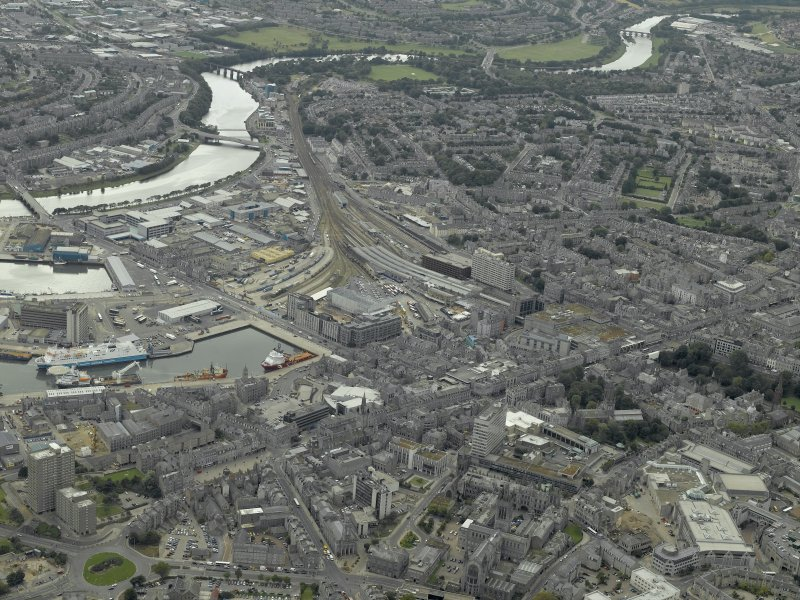 Oblique aerial view of the city centre centred on Guild Street station, taken from the NNE.