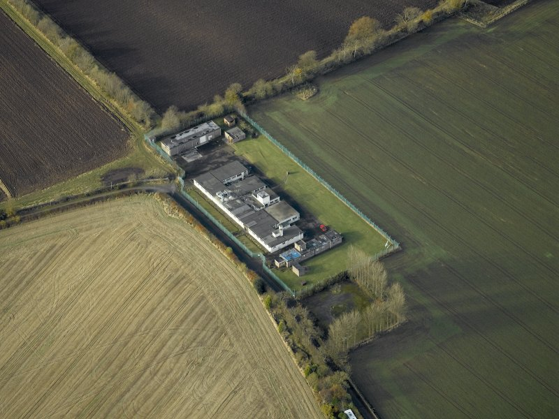 Oblique aerial view centred on the radar station, taken from the ESE.