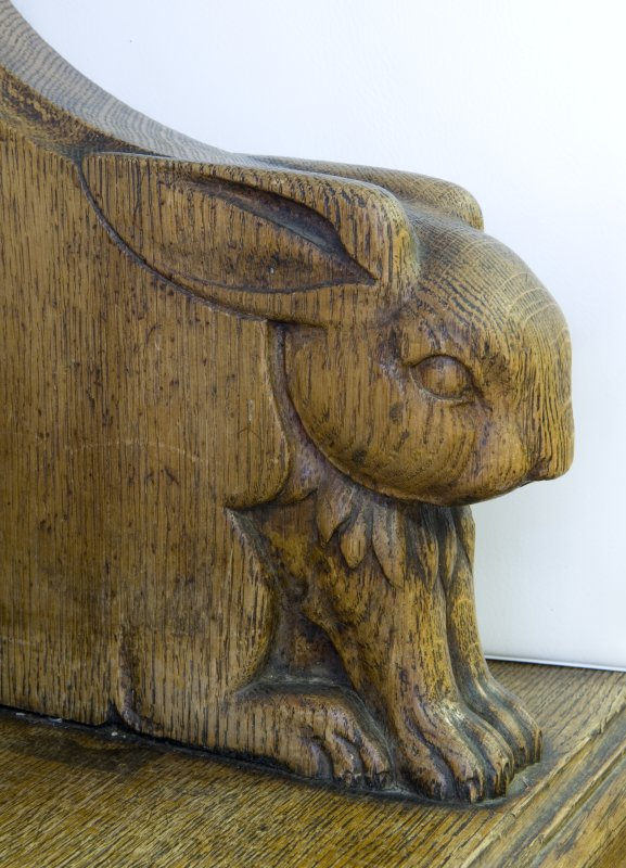 Interior. Ground floor. South west room. Detail of carved animal (rabbit) head. Lowther Terrace, Glasgow.